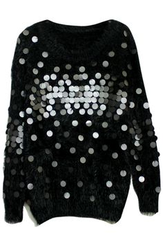 #Romwe .com Mohair Tassels Sequins Embellished Black Jumper  $76.99