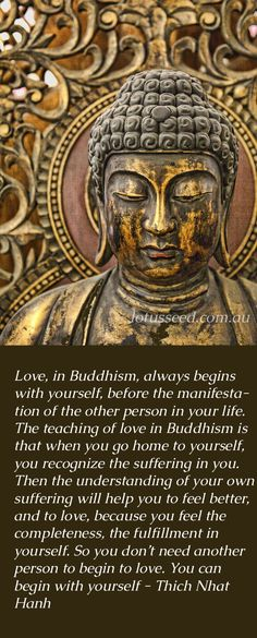 True Love begins with yourself. Thich Nhat Hanh Buddhist Zen Quotes by lotusseed Buddha Zen, Buddha Buddhism, Buddha Quote, Nirvana Buddhism, Buddhist Meditation, Meditation Quotes, Zen Quotes, Spiritual Quotes, Inspirational Quotes