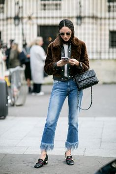Reinvent distressed jeans with polished add-ons.