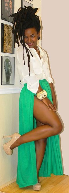 White blouse and Green long skirt. Black beauty and that Cheeky leg. How many smiles can you able to give me? ;)