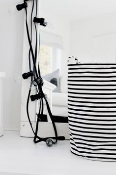 Black & White Striped Basket For Blankets House Doctor, Decorating Your Home, Interior Decorating, Interior Design, Interior Styling, Monochrome Interior, Scandinavian Home, Small Space Living, White Houses