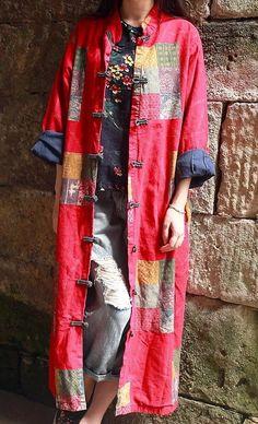 PRODEJ - Žena čínský Nový rok bavlněné povlečení patchwork dlouhá bunda - jaro / podzim