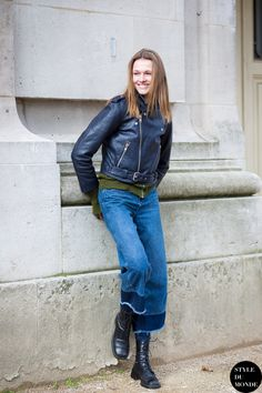 Paris Fashion Week FW 2015 Street Style |12 Apr '15 | Emma Oak, Fashion model, wearing Biker leather jacket and H&M denim culottes after Guy Laroche fashion show.