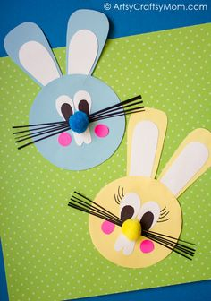 Crafts For Kids This Easy Easter Bunny Paper Craft is fun for kids of all ages. You can use the Easter Bunnies to decorate your house or classroom, as large puppets (attach a wooden spoon to the back with strong sticky tape), or as masks. Craft Stick Crafts, Preschool Crafts, Crafts To Make, Paper Crafts, Craft Sticks, Fabric Crafts, Craft Ideas, Paper Paper, Wood Crafts