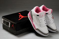 Women Air Jordan 3 High Quality White Cement Grey Pink Shoes - Click Image to Close