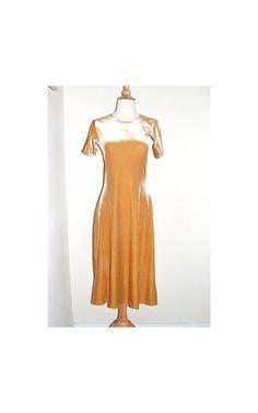 vintage gold velvet dress . tea length . glam by MerakiVintageShop, $21.00