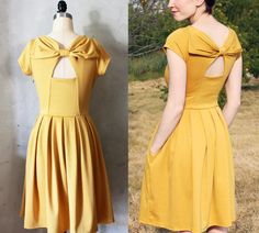 HOLLY GOLIGHTLY MUSTARD - Yellow dress with pockets, pleated skirt, and back cut out $68.00, via Etsy.