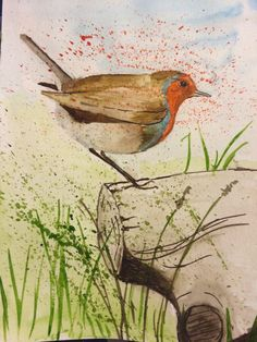 Robin, a commission for a friend. Watercolour