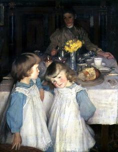 The Breakfast Table ~ Sir George Clausen ~ (British: Paintings I Love, Beautiful Paintings, Classic Paintings, Irish Painters, Art Society, English Artists, Mother And Child, Figure Painting, Art World
