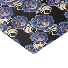 Large Abstract Blue Flowers Tissue Paper 2