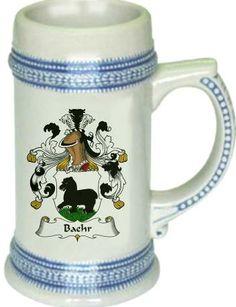 Baehr Coat of Arms / Family Crest stein mug