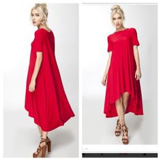 Oversized Tunic Cape Dress NWOT Prom Gorgeous red flyaway dress! NWOT. 2S 2M 2L linsleppo2 Dresses Mini