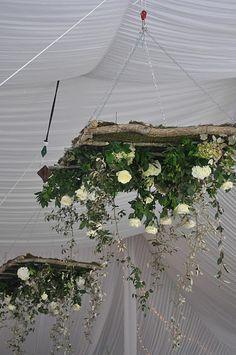 Jane Coslick Cottages: November 2011 in 2020 Wedding Reception Flowers, Wedding Flower Arrangements, Floral Wedding, Floral Arrangements, Rustic Wedding, Cottage Wedding, Wedding Backdrop Design, Wedding Decorations, Flower Chandelier
