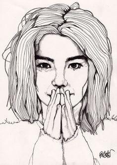 Bjork - Original Signed Paul Nelson-Esch Drawing Art pencil Illustration portraiture icelandic singer alt indie dance - Free S&H