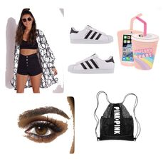 """..."" by michelle-jovanovic ❤ liked on Polyvore featuring Missguided, adidas Originals and Skinnydip"