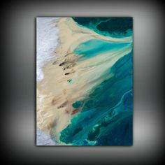This is a FINE ART GICLEE PRINT Title: Coastal Collection #PRT1016 Shades Blue, Teal, Green, Tan, and Silver Each piece is signed and dated by the artist The drop down menu on the upper left of the listing shows a variety of sizes and materials available. You may choose Fine Art Paper, Canvas, or Metallic Canvas. This print is MADE TO ORDER and can come in multiple sizes that are not listed. If you would like a custom size feel free to convo me and I can give you a quote and create you ...