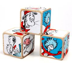 The Cat In The Hat Wood Blocks Dr. Seuss Baby by Booksonblocks Wooden Baby Blocks, Wood Blocks, Newborn Photo Props, Newborn Photos, Baby Shower Gifts, Create Your Own, Centerpieces, Parties, Etsy Shop