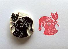 Handgeschnitzter Stempel, Vogel mit Mistelzweig / christmas stamp, tiny bird with mistletoe by Arteck via DaWanda.com