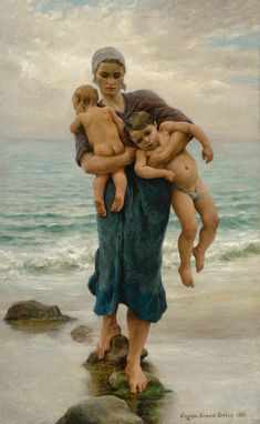 """Femme de pecheur venant de baigner ses enfants by Virginie Demont-Breton - I believe the translation is """"Fishers Wife returning from bathing her children"""" In any case I love the humanity of it. La Madone, Art Gallery, Female Painters, French Artists, Mother And Child, Oeuvre D'art, Art History, Illustration Art, Drawings"""