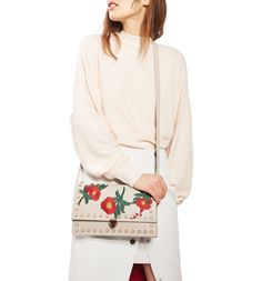 Main Image - Topshop Ocean Pearl & Embroidered Faux Leather Crossbody Bag
