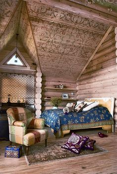 Russian wooden house in Siberia. Retro-style interior.