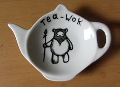 Ewok tea bag tidy Star Wars Homewares spoon rest by gallonsofink, £5.00