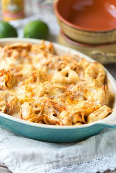 Five Ingredient Chicken Enchilada Tortellini Bake. Ready for dinner in under 30 minutes! | This Gal Cooks