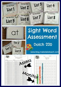 Free Dolch sight word assessment.  Student materials, recording forms and progress monitoring charts. Great for RtI!