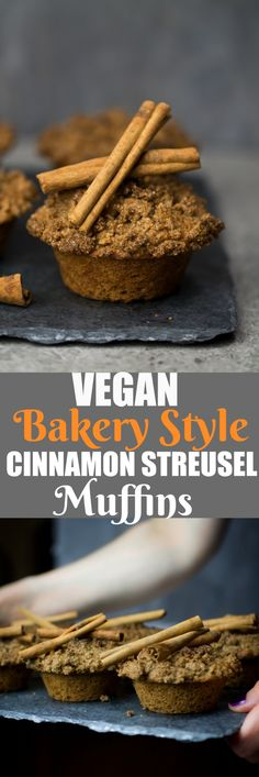 These Vegan Bakery Style Cinnamon Streusel Muffins are a beautiful memory to the ones we ate growing up, but don't have all of that butter or oil. These are dairy-free, oil-free and made with whole grain spelt flour and almond flour. They bake up deliciously moist, perfectly sweet and with a glorious crunchy cinnamon topping! via @thevegan8