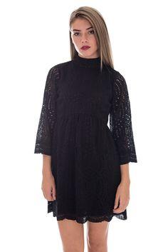 Motel Womens LBD | Luella Scallop Black Babydoll Dress | DIZEN