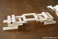 Five Engineering Challenges with KEVA Planks - Frugal Fun For Boys and Girls Lego Challenge, Plank Challenge, Thigh Challenge, Stem Activities, Activities For Kids, Engineering Challenges, Experiment, Jenga Blocks, Wooden Building Blocks
