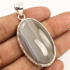 925 Sterling Silver Jewelry Pretty Pendant Natural BOTSWANA AGATE Oval Gemstone #Unbranded #Pendant