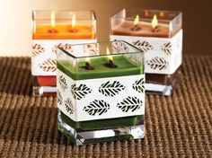 Inspired by nature with wood wicks these harvest candles come in three amazing scents: pumpkin patch, suede leaves, and woodland.