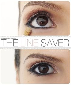 Eyeliner tricks tips - To make your lower liner stay in place without smudging, apply pressed powder directly underneath with a small brush. This has the added bonus of highlighting the area.   Read more: http://www.gurl.com/2014/05/27/eyeliner-hacks-tips-tricks-makeup-tutorial/#ixzz3ZtYXnHKz
