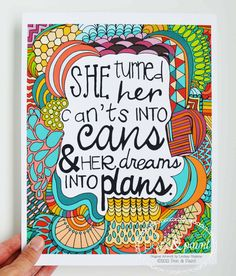 Inspiring Quote Illustrated Print by penandpaint