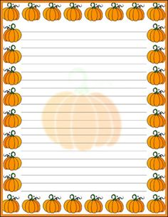 free printable halloween statioenry and writing paper - pumpkin border Stationary Printable, Printable Lined Paper, Owl Background, Letter Writing Template, Halloween Borders, Lined Writing Paper, Borders For Paper, Paper Decorations, Diy Paper