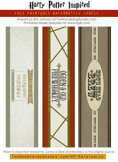 Lizy B: Free Harry Potter Party Printables!!! - These would be great for wine or beer bottles too!