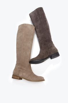 Plush suede tall boots with a slouchy shape and a rounded toe