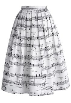 This one's for music lovers, indeed. With classic sheet music covering the entire skirt, you're sure to keep everyone whistling as you walk by while the flirty hemline catches the light breeze. Take this lovely skirt to even higher notes with the perfect top, clutch and heels for a look that's perfectly suited for a night of dancing and flirtatious giggles!    - Side zip closure with hook  - Gentle pleats from waist  - Full lined  - 100% Polyester  - Machine washable      Size(cm) Length W