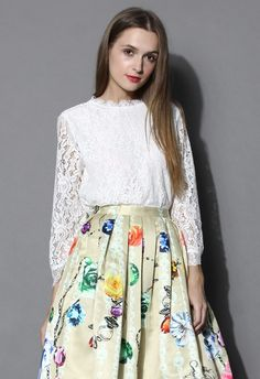 Scrolled Hem Full Lace White Top