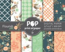 Floral Digital Paper FLOURISH MINT stylish flowers, morrocan, plaid patterns, romantic peach and mint, spring flowers, mother's day floral