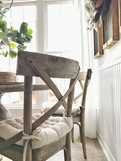 Home Tour- Farmhouse Style Breakfast Nook with Round Table and Cross Back Wood Chairs by Plum Pretty Decor and Design