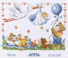 Point de croix pour bébé la cigogne et les oursons 2002-70732 de Vervaco