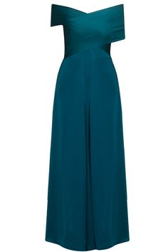 Ocean teal drop shoulder strapless jumpsuit by Lola. Shop now: http://www.perniaspopupshop.com/designers/lola-by-suman #lola #shopnow #jumpsuit #perniaspopupshop