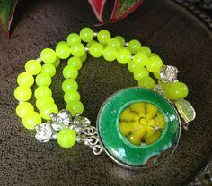 Yellow Jade Gemstone Triple Wire Bracelet by JewelrybyKellyWalker