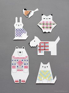 Adorable Animal Printable Cross Stitch Cards