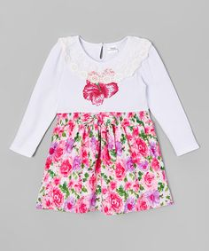 Look what I found on #zulily! White & Fuchsia Floral A-Line Dress - Infant, Toddler & Girls #zulilyfinds