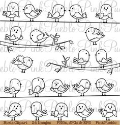 Illustration of Set of Line Art Cartoon Birds vector art, clipart and stock vectors. Vogel Clipart, Bird Clipart, Doodle Drawings, Easy Drawings, Doodle Art, Line Art, Adobe Illustrator, Mundo Hippie, Elementary Art