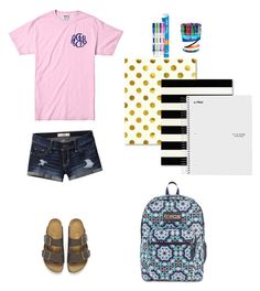 """Back to school read d"" by soccer-tumblr ❤ liked on Polyvore featuring Birkenstock, Hollister Co., JanSport and Paper Mate"