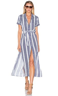 L'Academie The Maxi Shirt Dress in Sailor Stripe